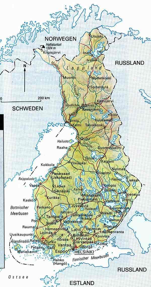 Finnland Karte Regionen.Reiselaender Und Regionen Europa Finnland